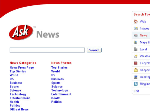 Screen shot of Ask.com