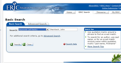Screen shot of ERIC database