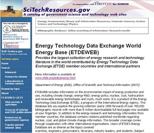 Screen shot of FedWorld database