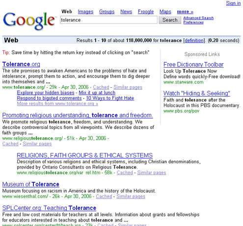 Screen shot of Google simple search