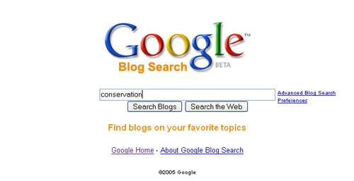 google blog search. As you can see, Google Blog