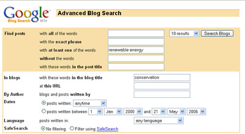 Screen shot of Google Blog Search