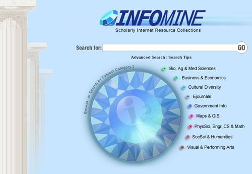 Screen shot of Infomine Website
