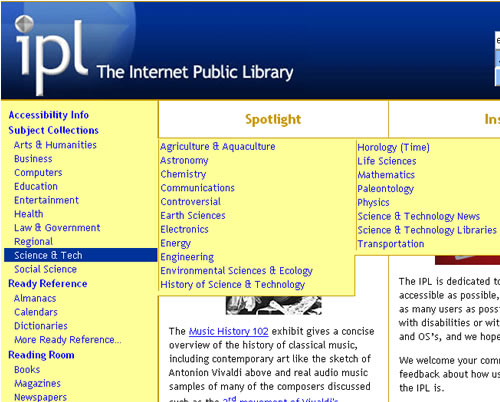 Screen shot of Internet Public Library Webpage