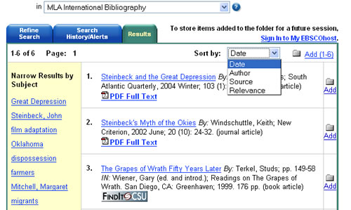Screen shot of MLA International Bibliography