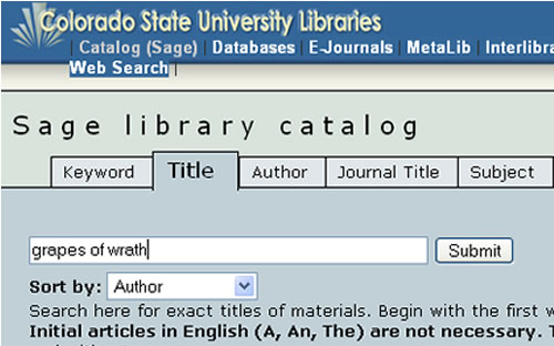 Screen shot of SAGE title search