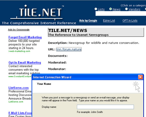 Screen shot of TileNet Website