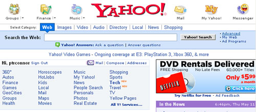 Screen shot of Yahoo advanced search